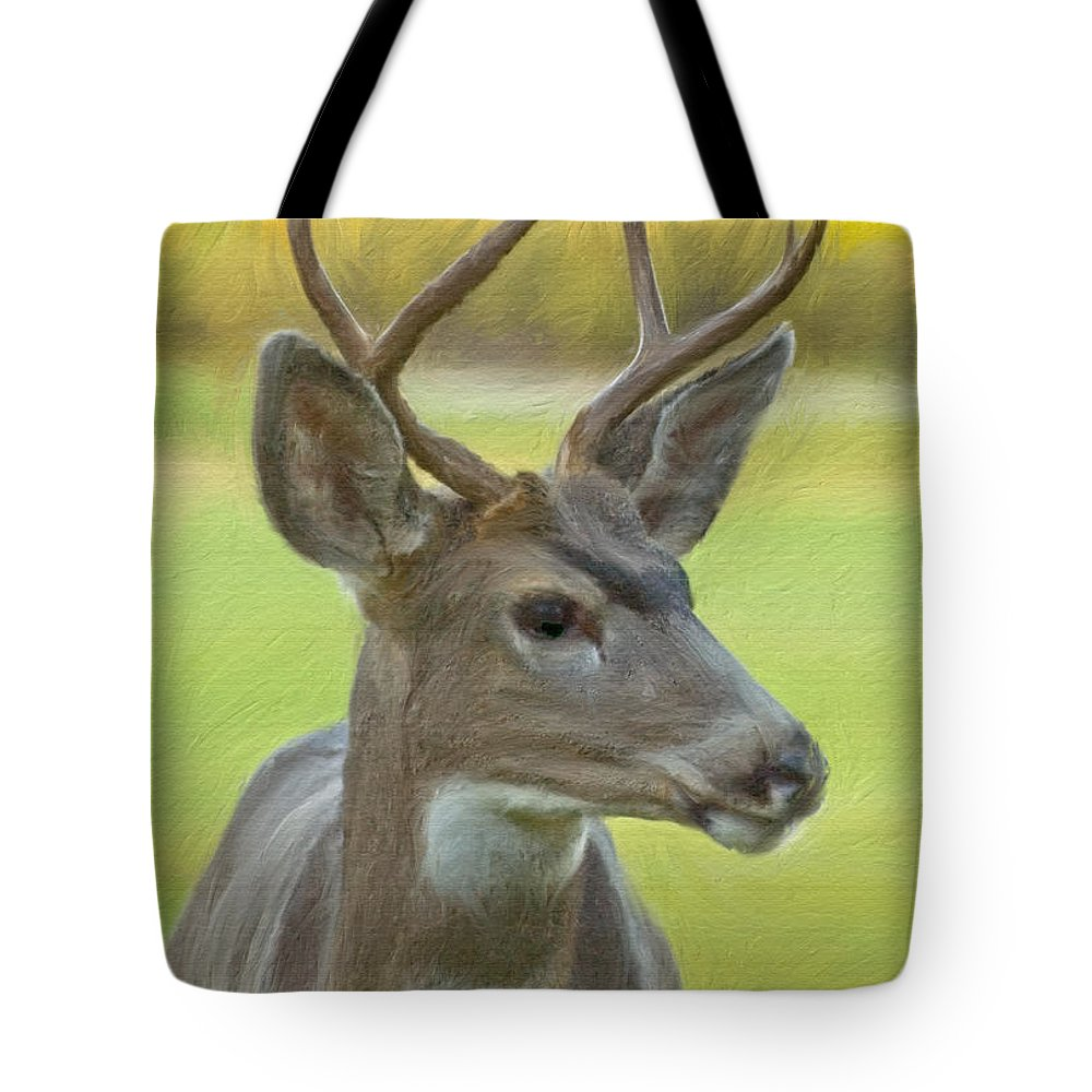 Digital Art Tote Bag featuring the digital art Portrait Of A Young Buck by Mick Burkey