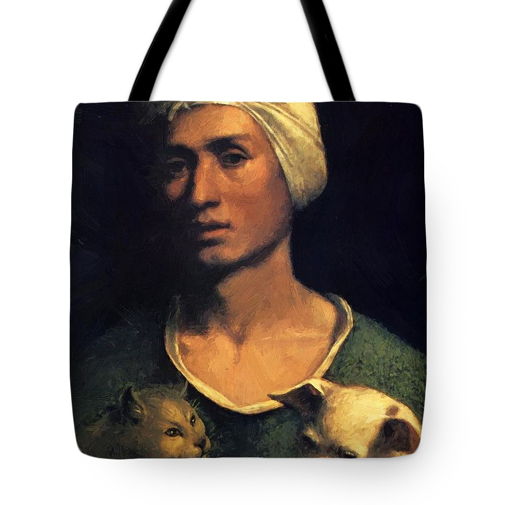 Portrait Tote Bag featuring the painting Portrait Of A Young Man With A Dog And A Cat by Dossi Dosso