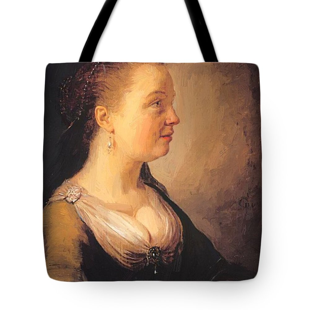 Portrait Tote Bag featuring the painting Portrait Of A Young Woman 1640 by Dou Gerrit