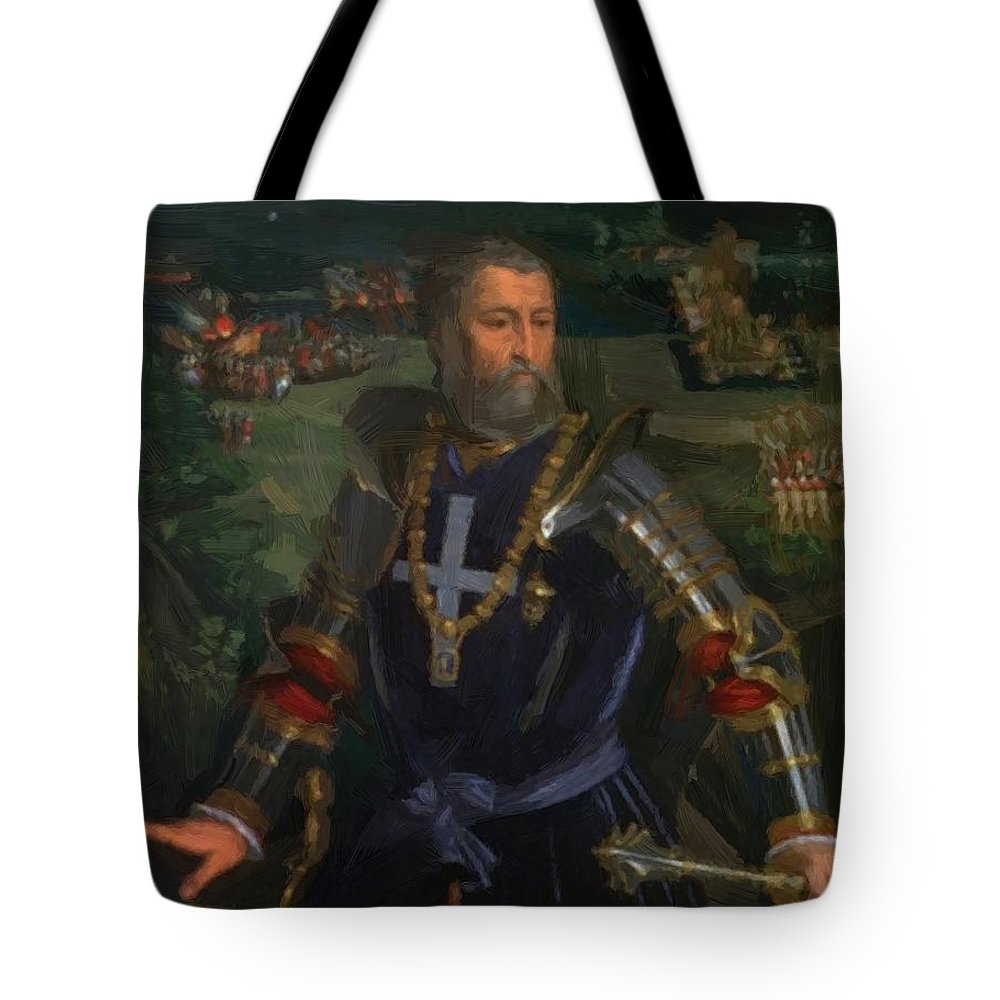 Portrait Tote Bag featuring the painting Portrait Of Alfonso I D Este 1530 by Dossi Dosso
