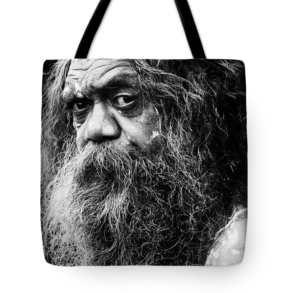 Aborigine Aboriginal Australian Tote Bag featuring the photograph Portrait Of An Australian Aborigine by Sheila Smart Fine Art Photography