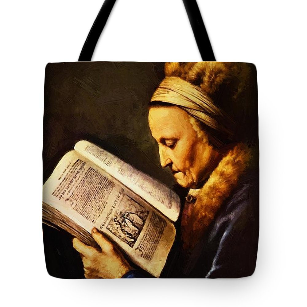 Portrait Tote Bag featuring the painting Portrait Of An Old Woman Reading by Dou Gerrit