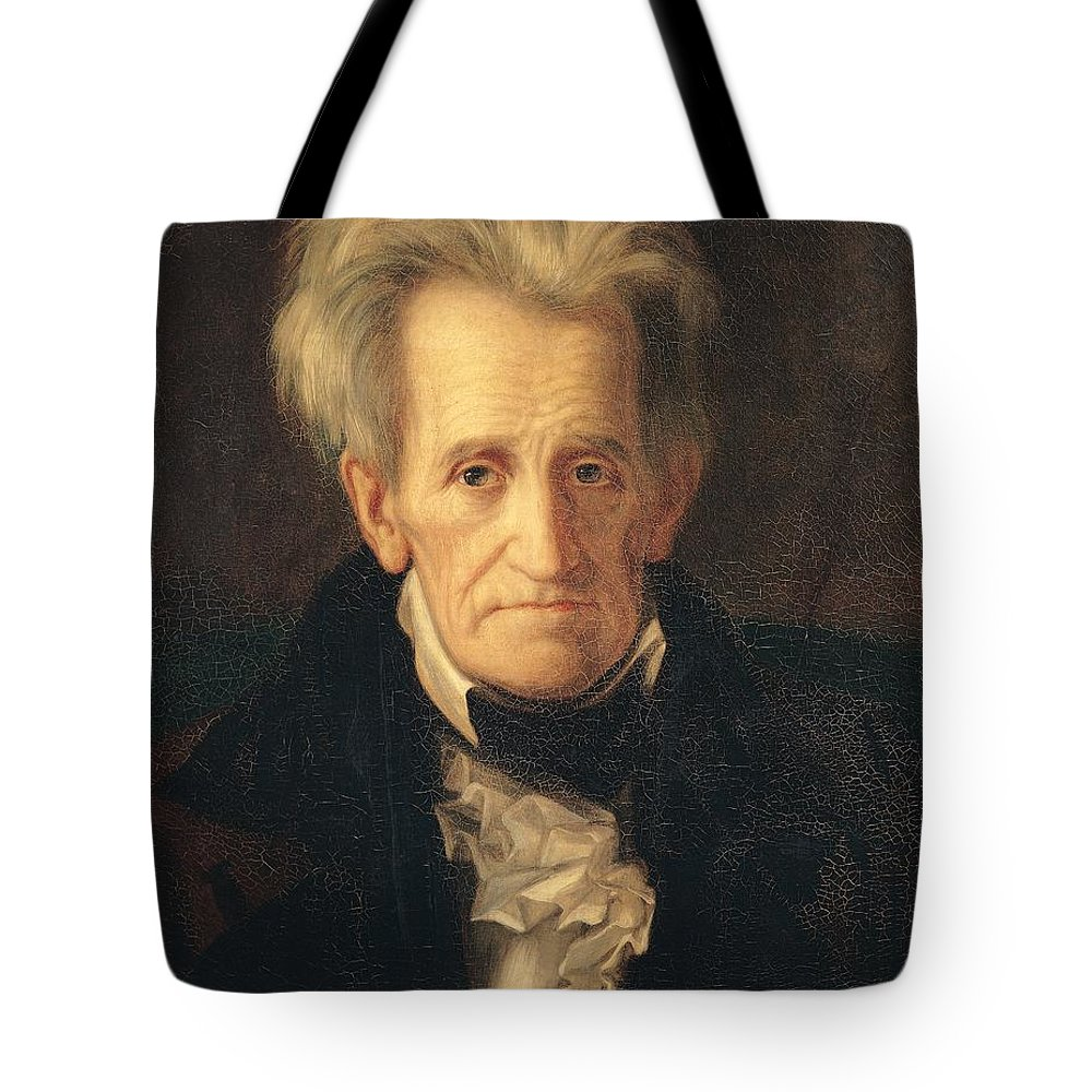 Portrait Of Andrew Jackson (oil On Canvas) By George Peter Alexander Healy (1808-94) Tote Bag featuring the painting Portrait Of Andrew Jackson by George Peter Alexander Healy