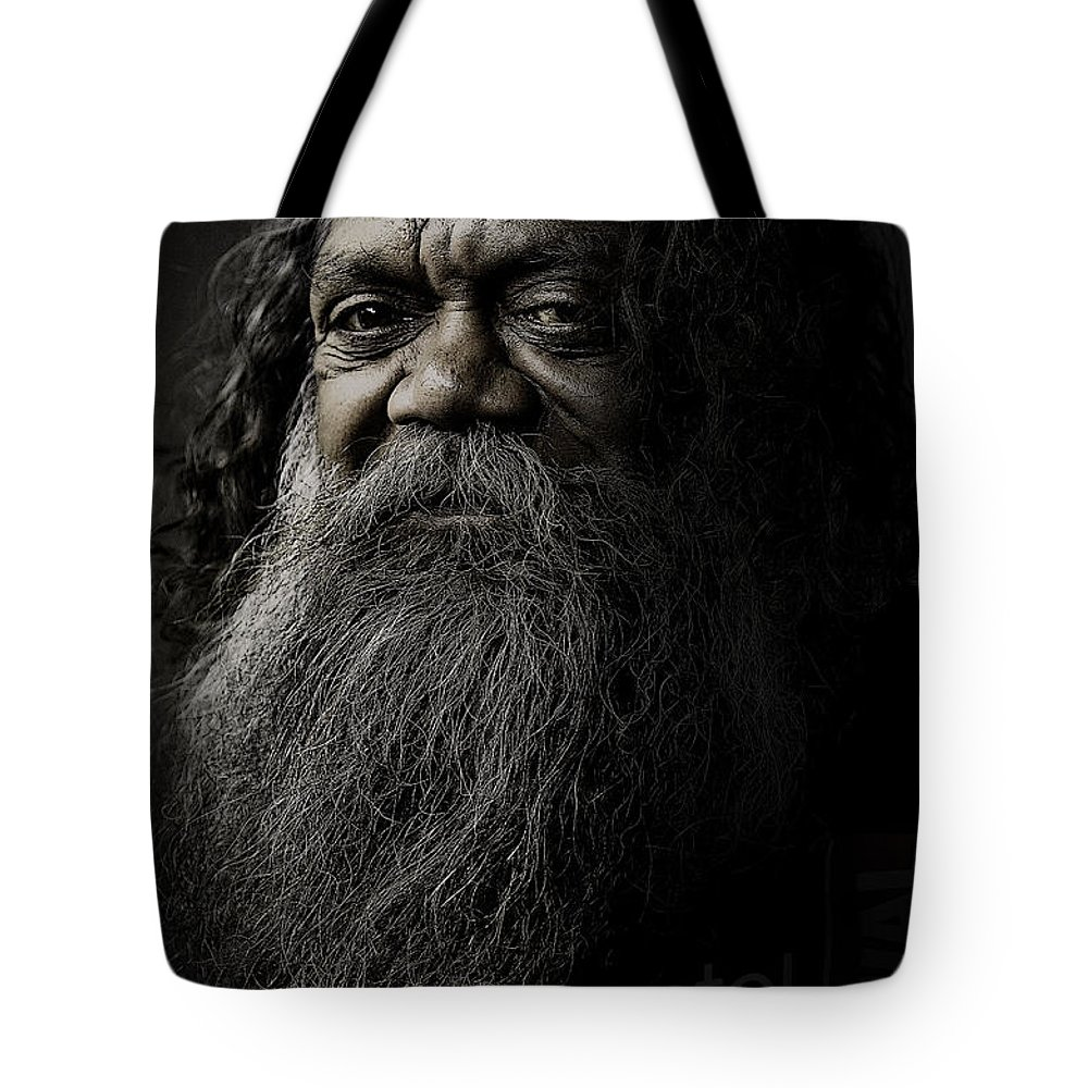 Aboriginal Tote Bag featuring the photograph Portrait Of Cedric by Sheila Smart Fine Art Photography
