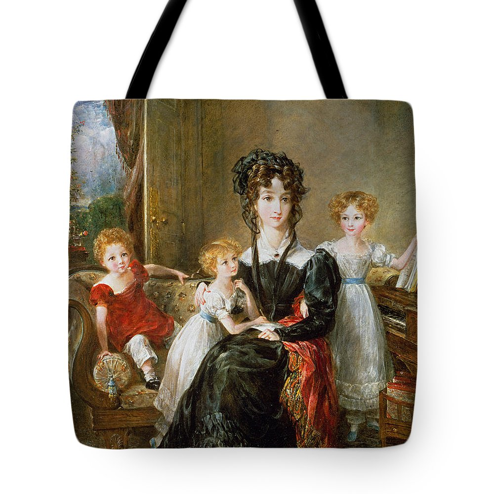 Portrait Tote Bag featuring the painting Portrait Of Elizabeth Lea And Her Children by John Constable
