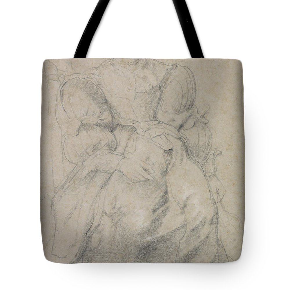 Peter Paul Rubens Tote Bag featuring the drawing Portrait Of Helene Fourment by Peter Paul Rubens