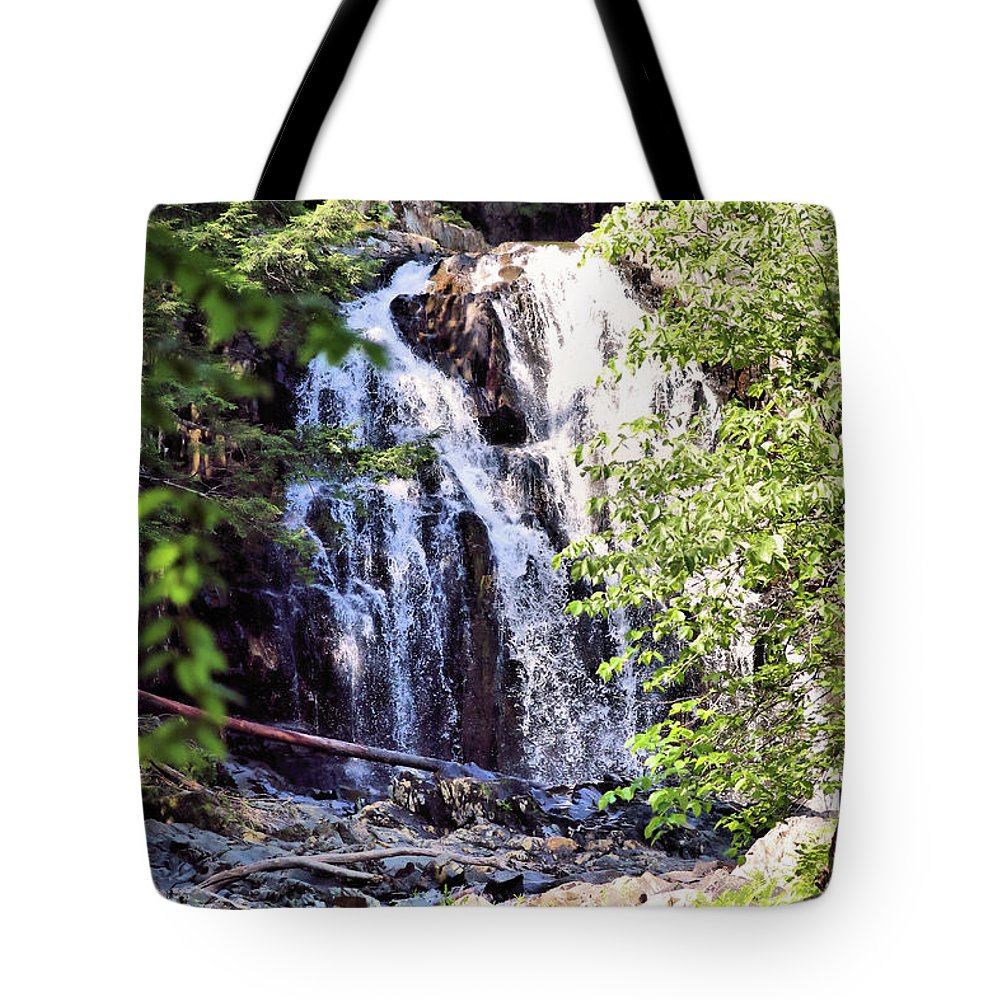 Waterfalls Tote Bag featuring the photograph Portrait Of Houston Brook Falls by Sandra Huston