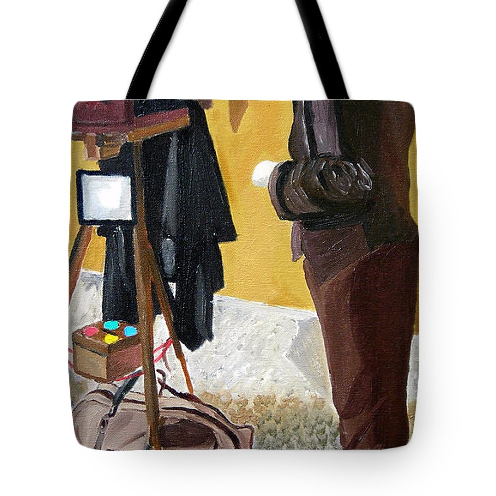 Mime Tote Bag featuring the painting Portrait Of Identity by Michael Lee