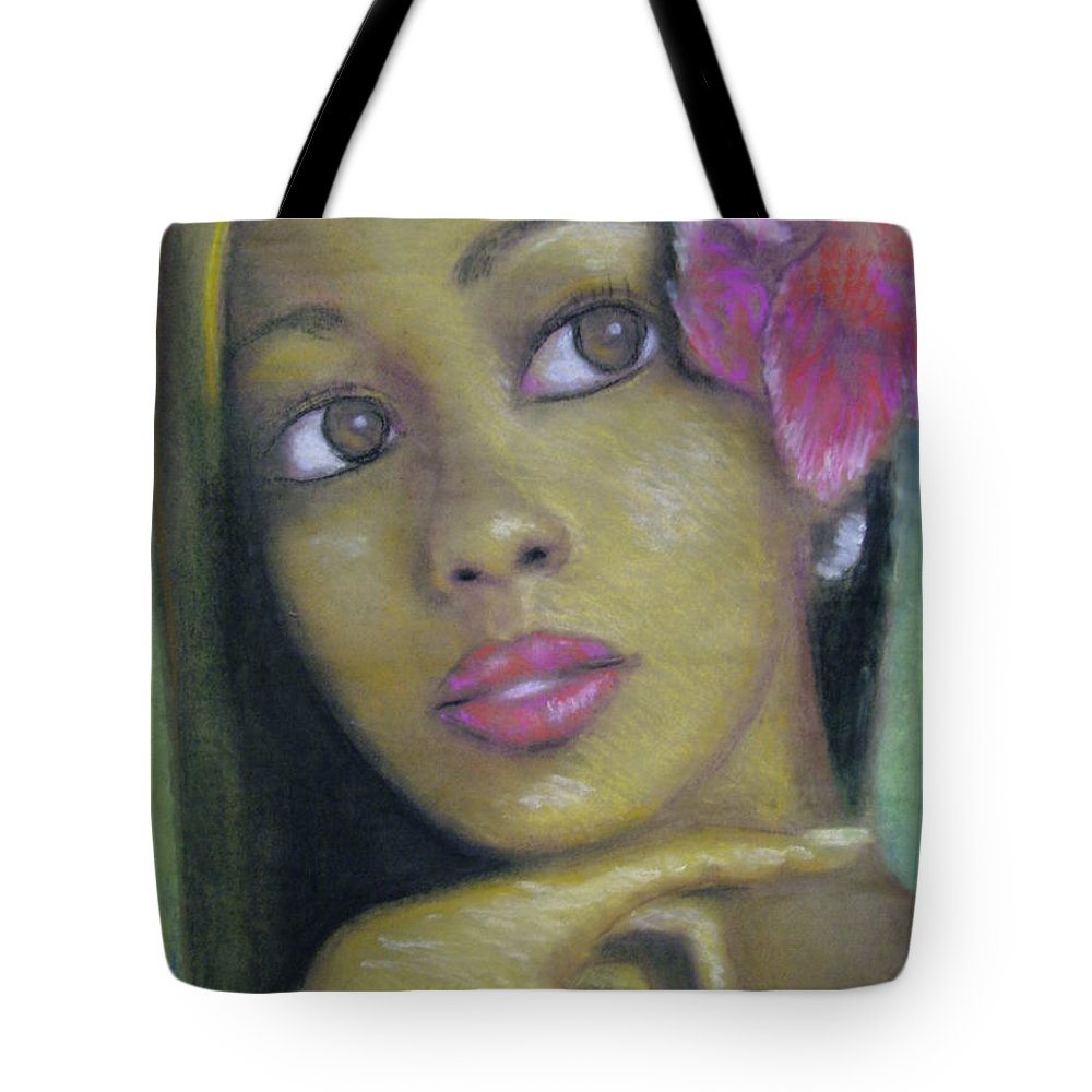 Drawing Tote Bag featuring the drawing Portrait Of Monica by Jan Gilmore