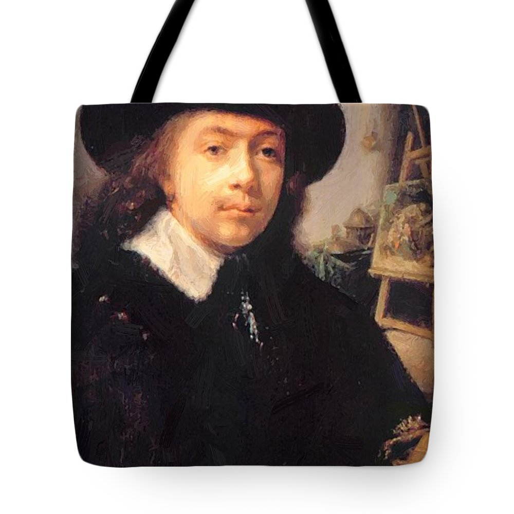Portrait Tote Bag featuring the painting Portrait Of The Artist In His Studio by Dou Gerrit