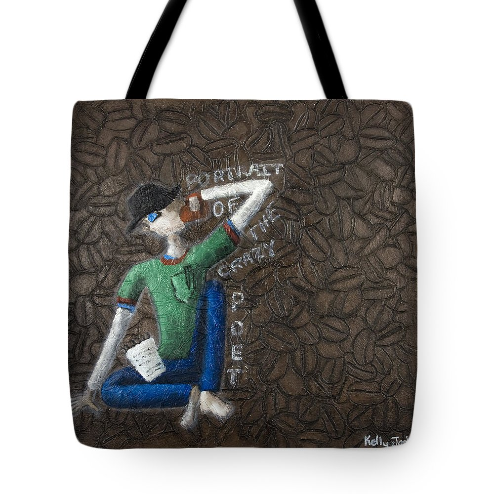 Portrait Tote Bag featuring the painting Portrait Of The Crazy Poet by Kelly Jade King