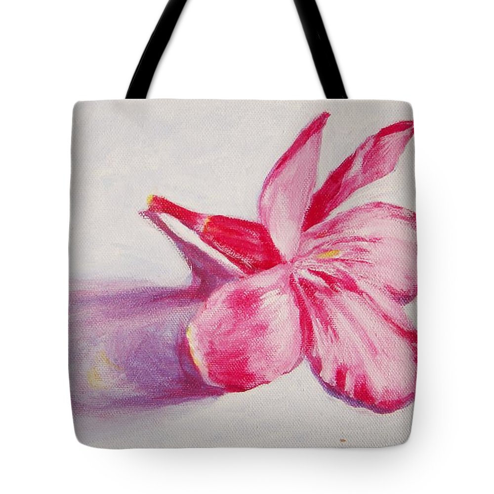 Genneri Tote Bag featuring the painting Portrait Of The Kaneri Flower. Oleander by Usha Shantharam