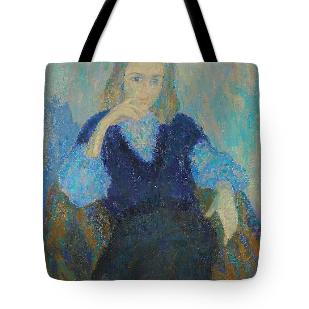 Beauty Tote Bag featuring the painting Portrait by Robert Nizamov