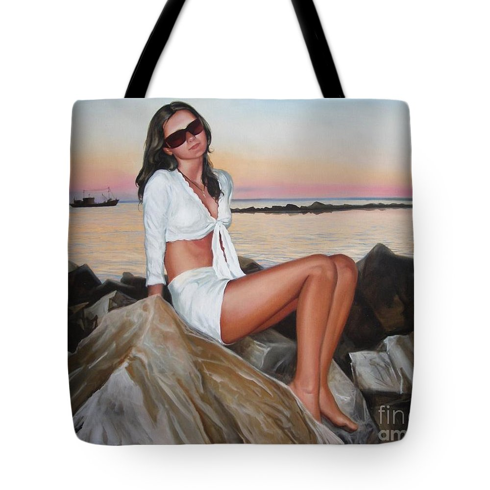 Art Tote Bag featuring the painting Portrait by Sergey Ignatenko