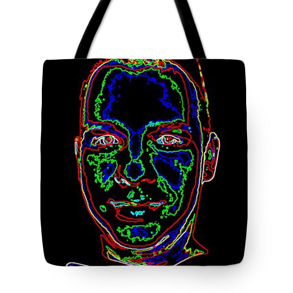 Collage Tote Bag featuring the digital art Portrait 09 On Black by John Vincent Palozzi