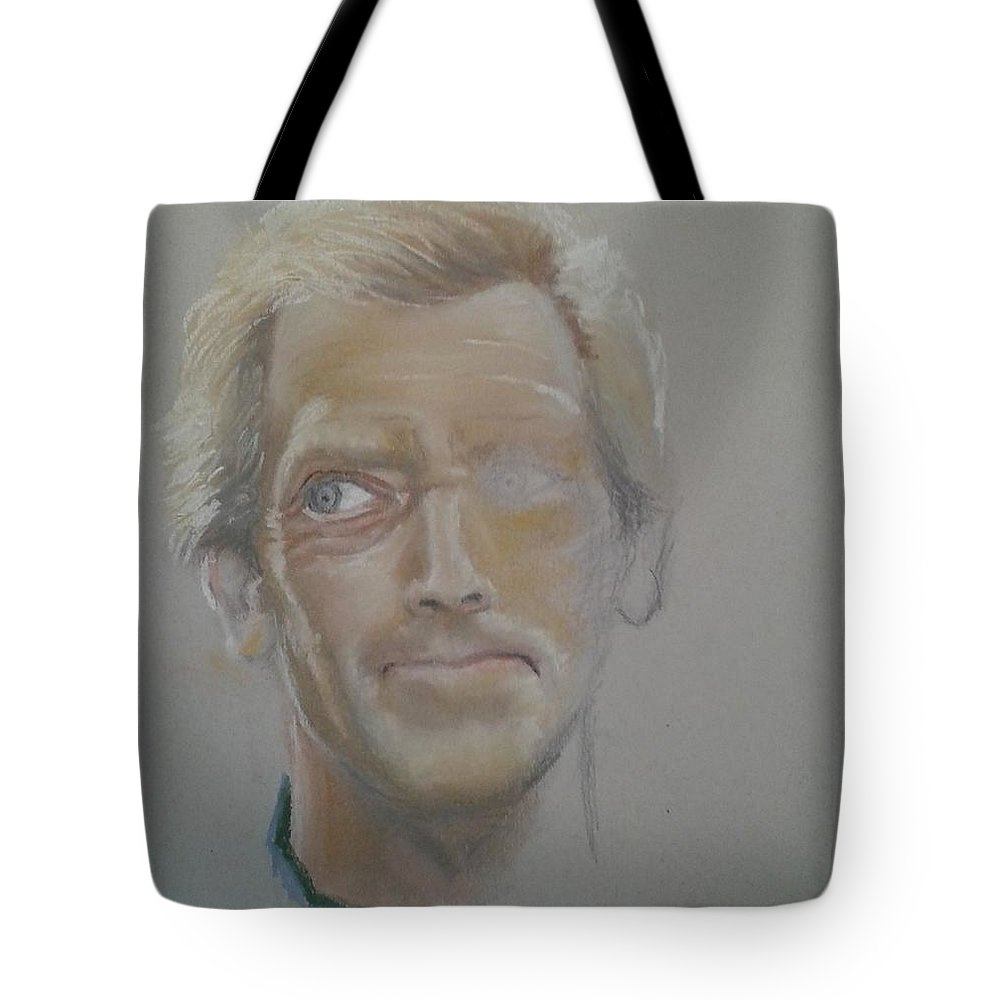 Drawing Portret Pastel Tote Bag featuring the painting Portret 4 by Angel Angelov