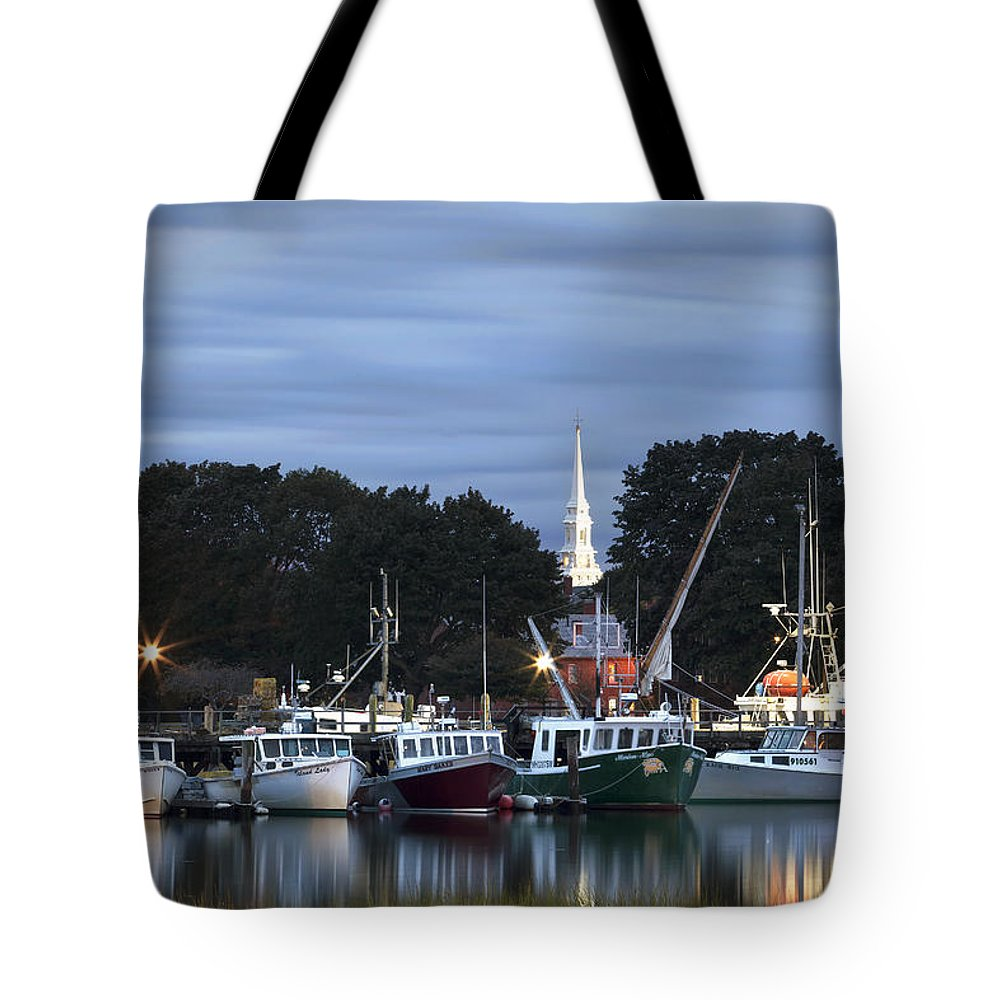 Portsmouth Tote Bag featuring the photograph Portsmouth Fish Pier by Eric Gendron
