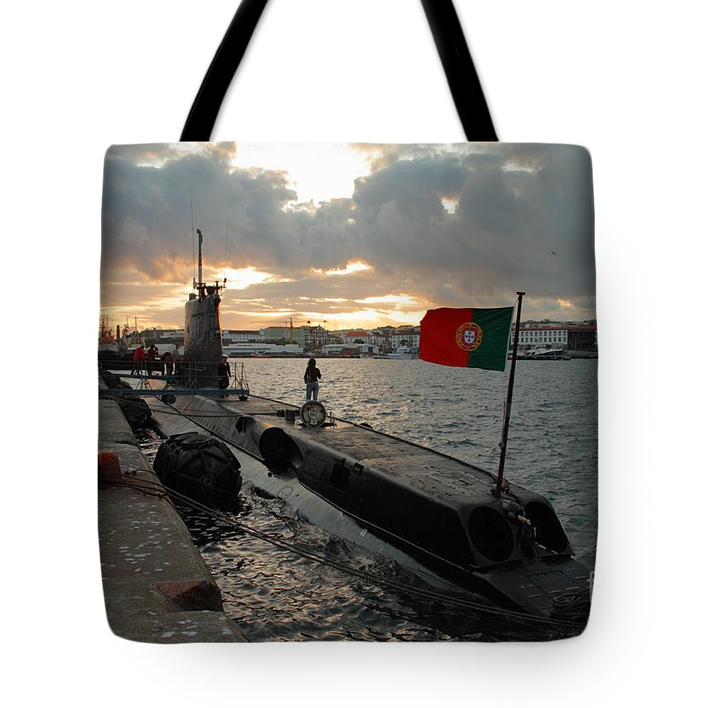 Harbor Tote Bag featuring the photograph Portuguese Navy Submarine by Gaspar Avila