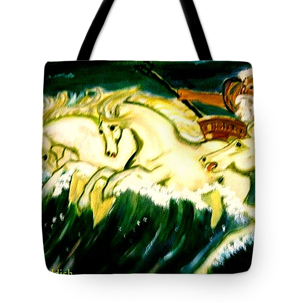 Mythical Tote Bag featuring the painting Poseidon by Rusty Gladdish