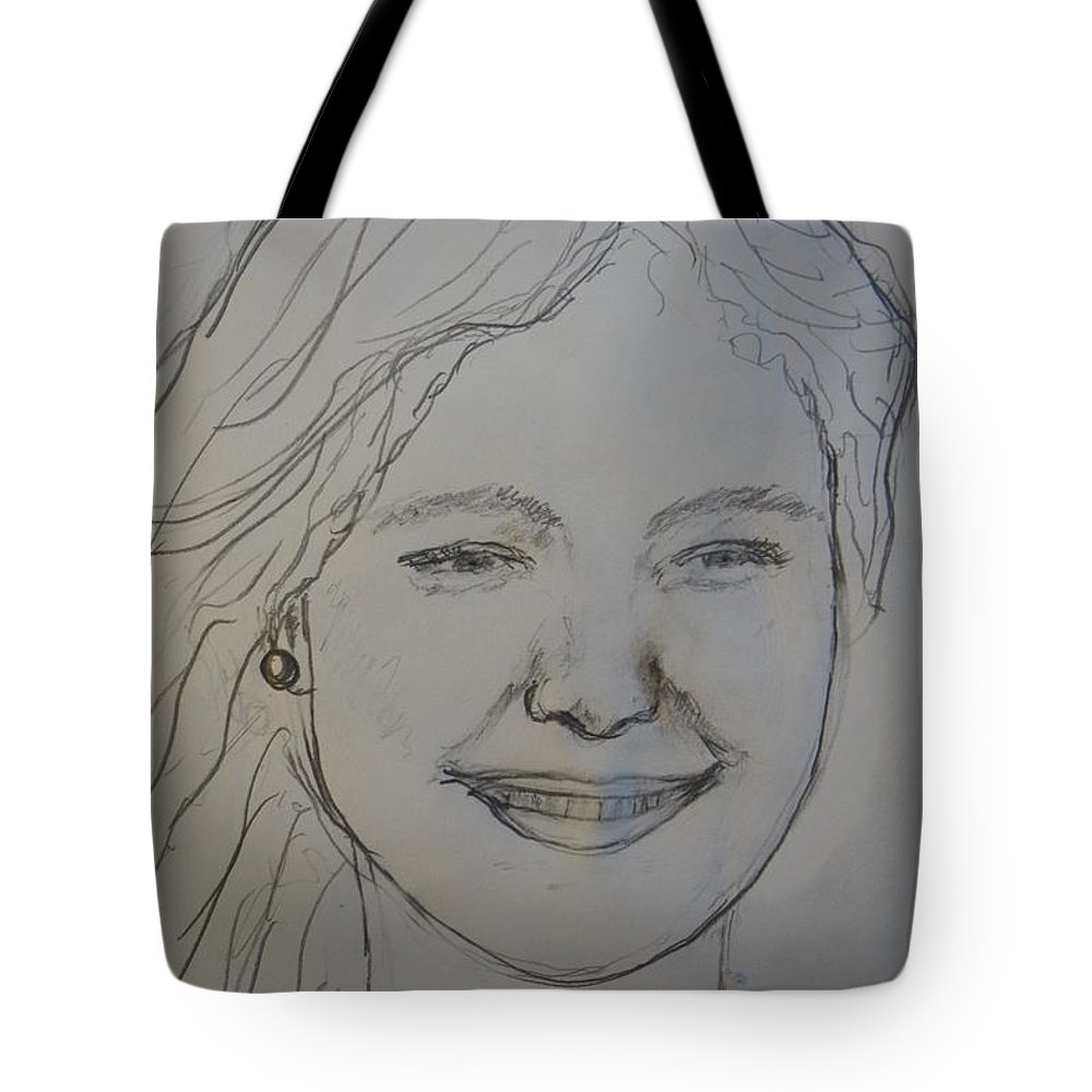 Portrait Tote Bag featuring the drawing Posing On The Pier by Rauno Joks