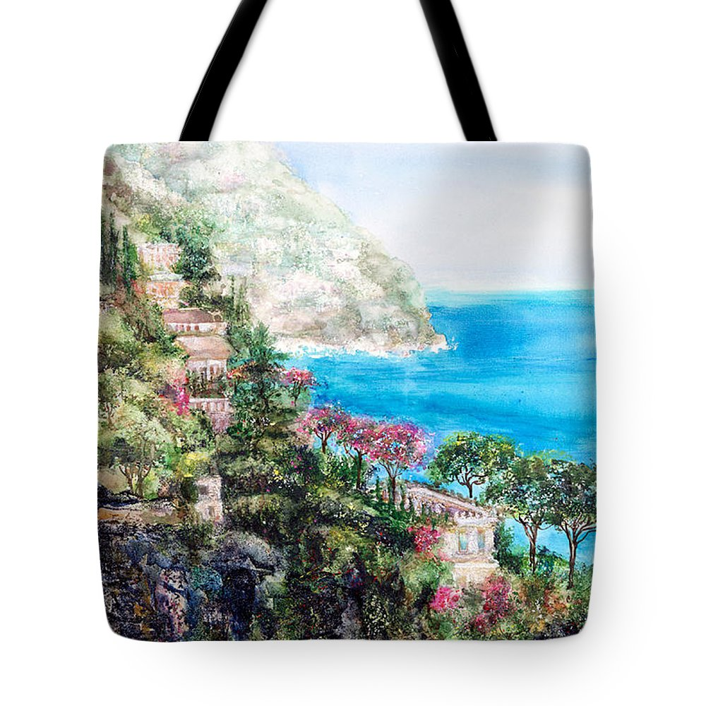 Landscape Tote Bag featuring the painting Positano by Barbara Colangelo