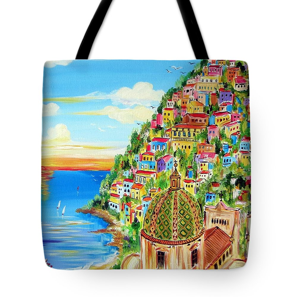 Positano Tote Bag featuring the painting Positano Dreamy Sunset by Roberto Gagliardi