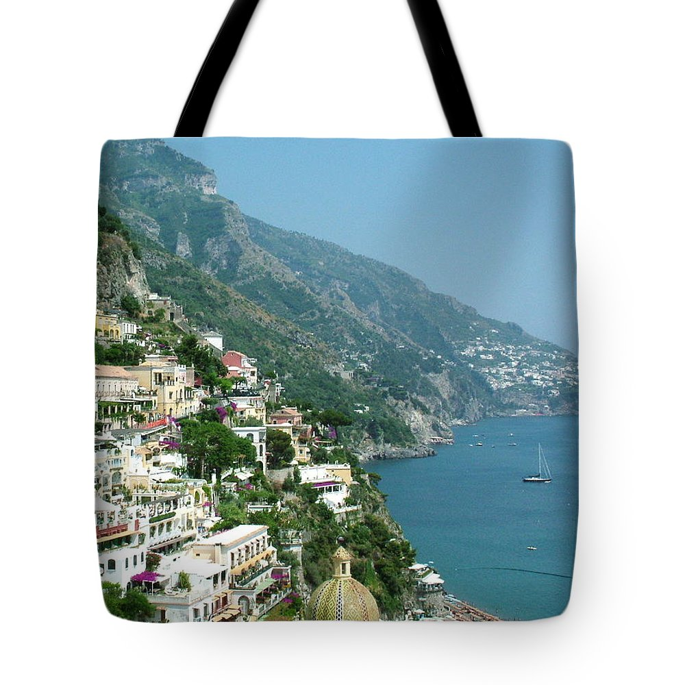 Positano Tote Bag featuring the photograph Positano In The Afternoon by Donna Corless