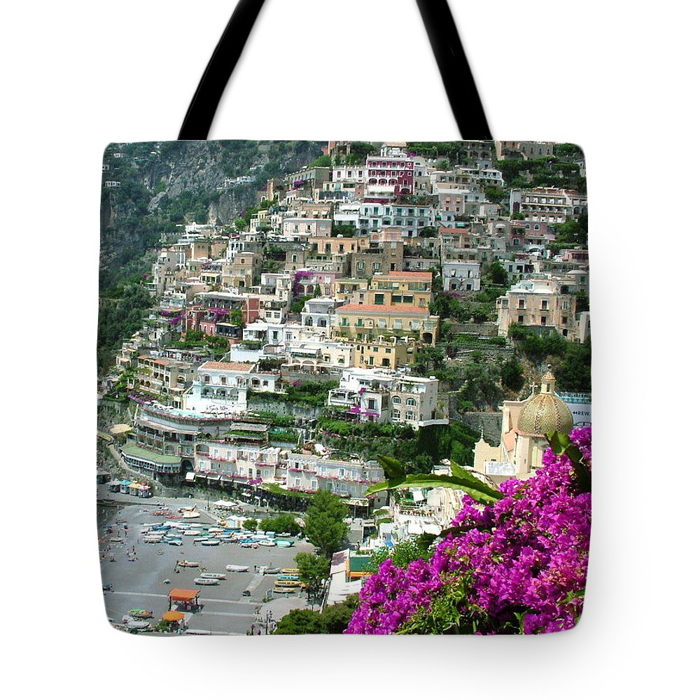 Positano Tote Bag featuring the photograph Positano's Beach by Donna Corless
