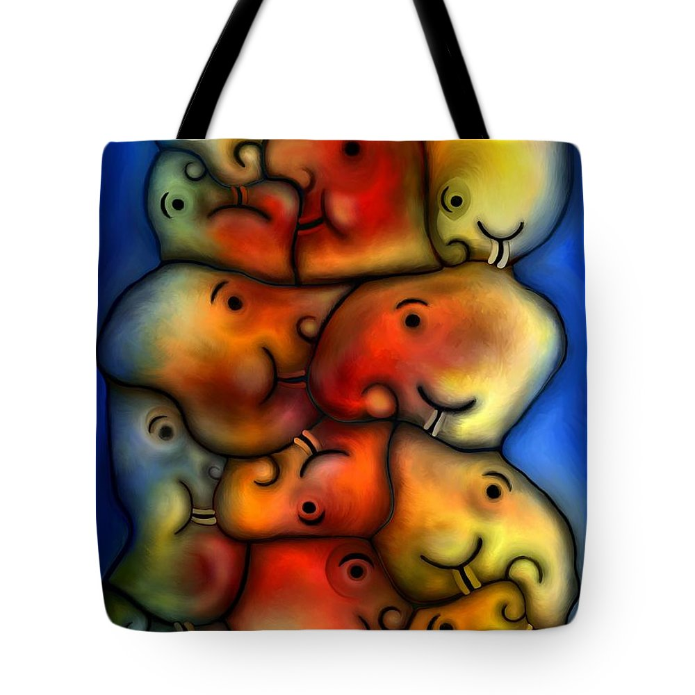 Contemporary Tote Bag featuring the painting Positive Mode by Rafi Talby