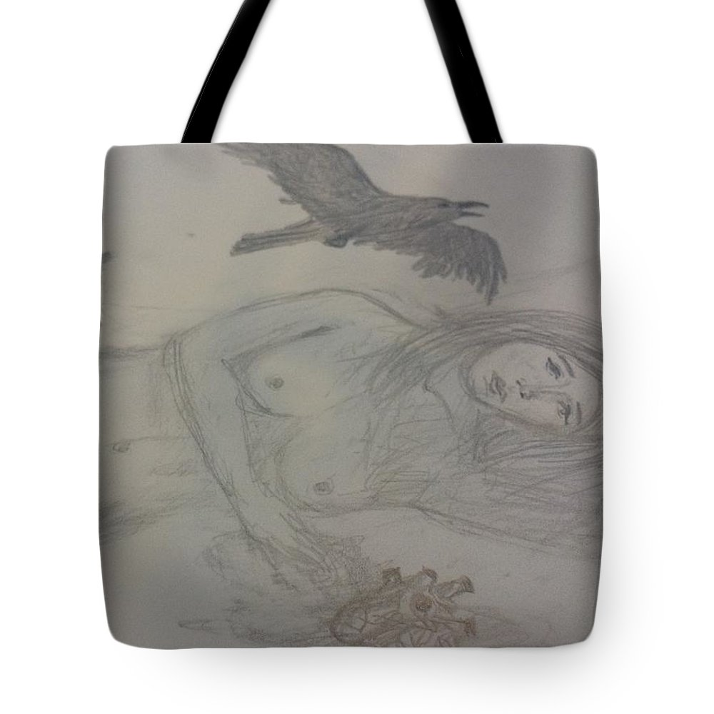 Wolf Tote Bag featuring the drawing Possibilities by Amber Carter