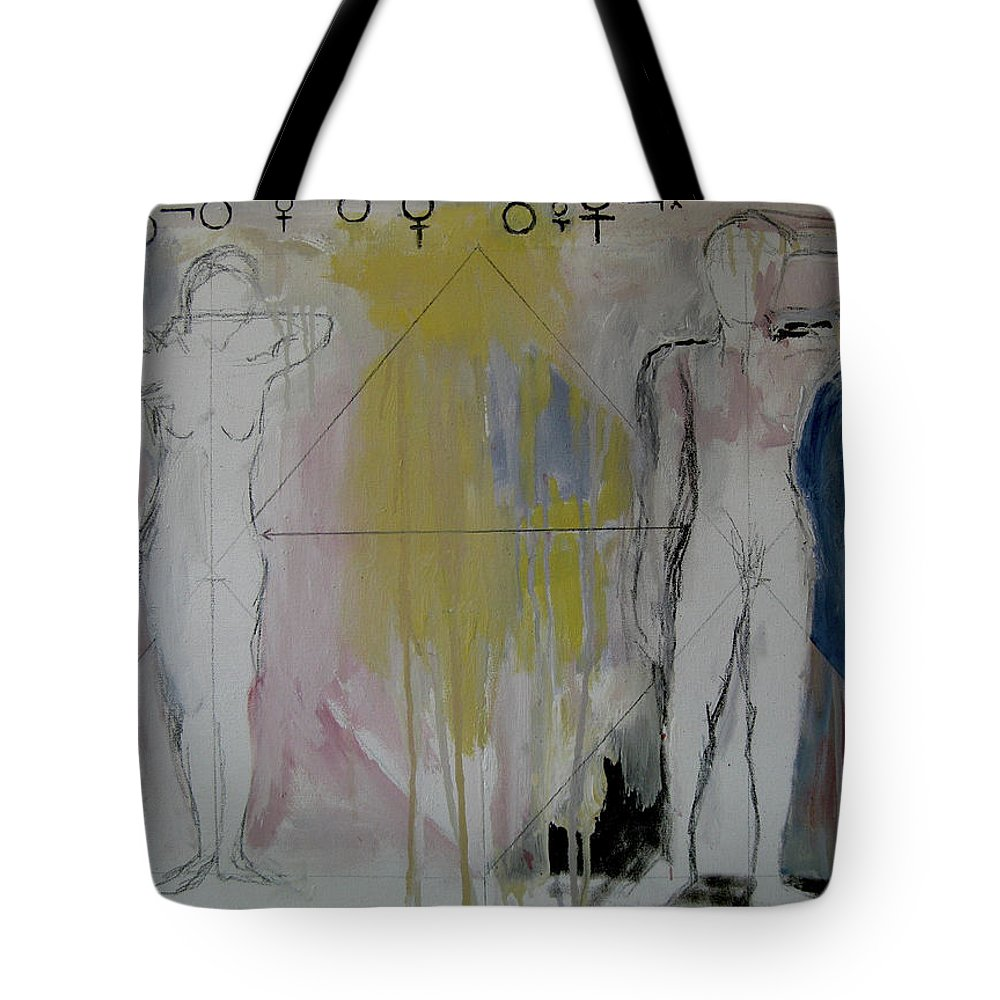Gender Tote Bag featuring the painting Possibility And Actuality by James Gallagher