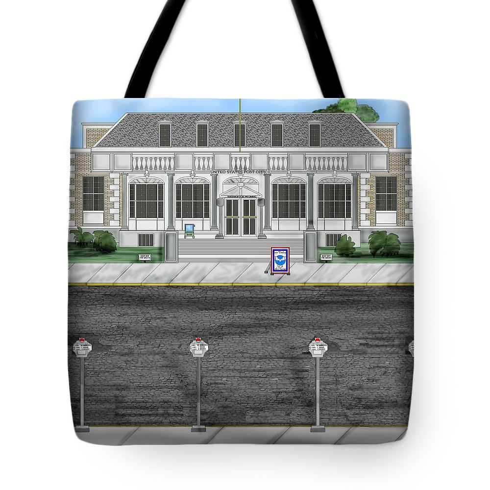 Townscape Tote Bag featuring the painting Post Office In Thermopolis by Anne Norskog