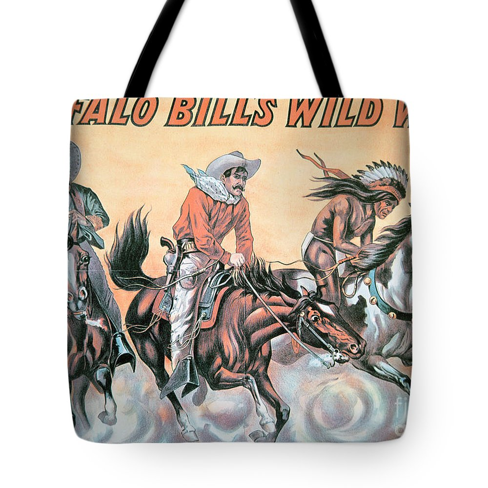 Poster For Buffalo Bill's (1846-1917) Wild West Show Tote Bag featuring the painting Poster For Buffalo Bill's Wild West Show by American School