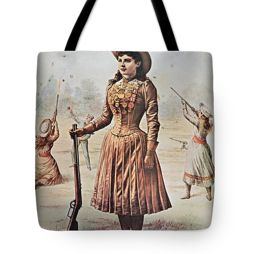 Annie Oakley Tote Bag featuring the painting Poster For Buffalo Bill's Wild West Show With Annie Oakley by American School