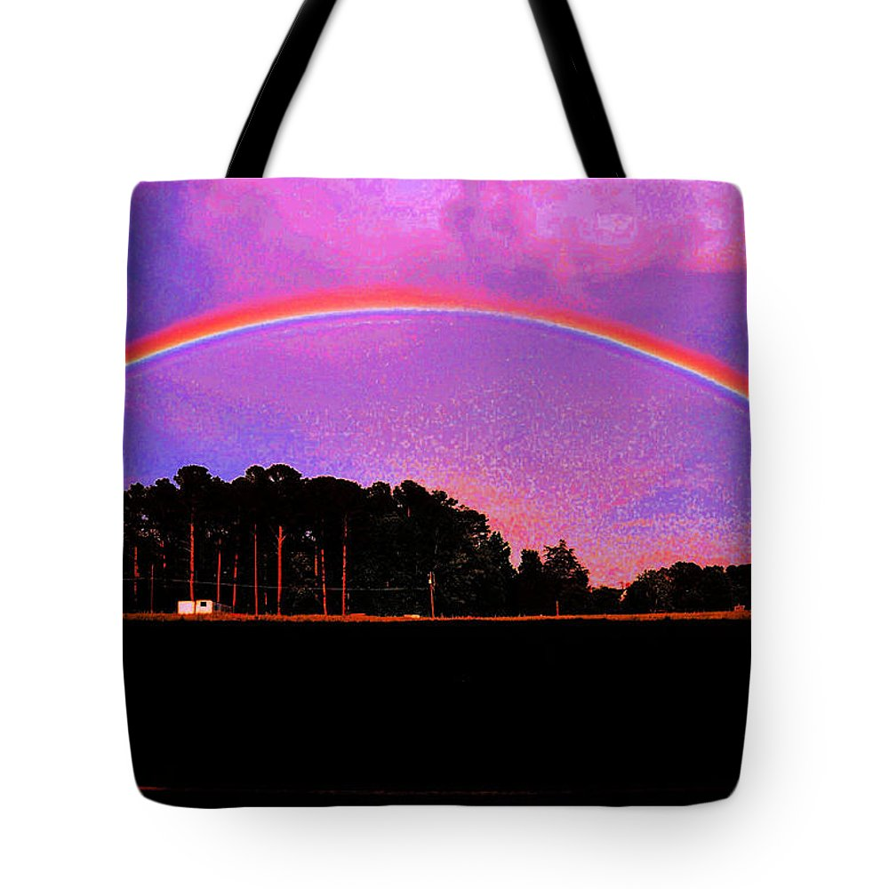 Rain Bows Tote Bag featuring the photograph Pot Of Gold by Mike Fairchild