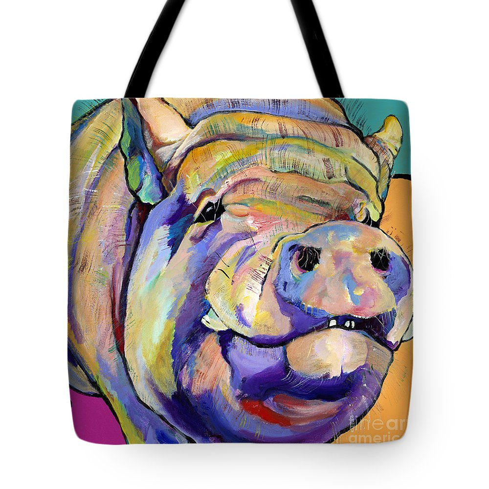 Pig Prints Tote Bag featuring the painting Potbelly by Pat Saunders-White