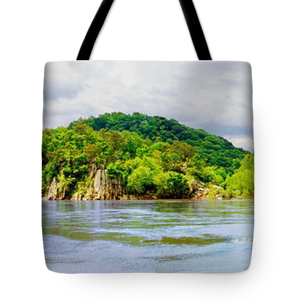Cliffs; Crag; Deep; Landscape; Hills; Nature; Outdoors; Park; River; Rock; Scenic; Strength; Terrain; Travel; Forest; Vacations; Water; Wild; Palisaides; Storm; Panorama Tote Bag featuring the photograph Potomac Palisaides by Francesa Miller
