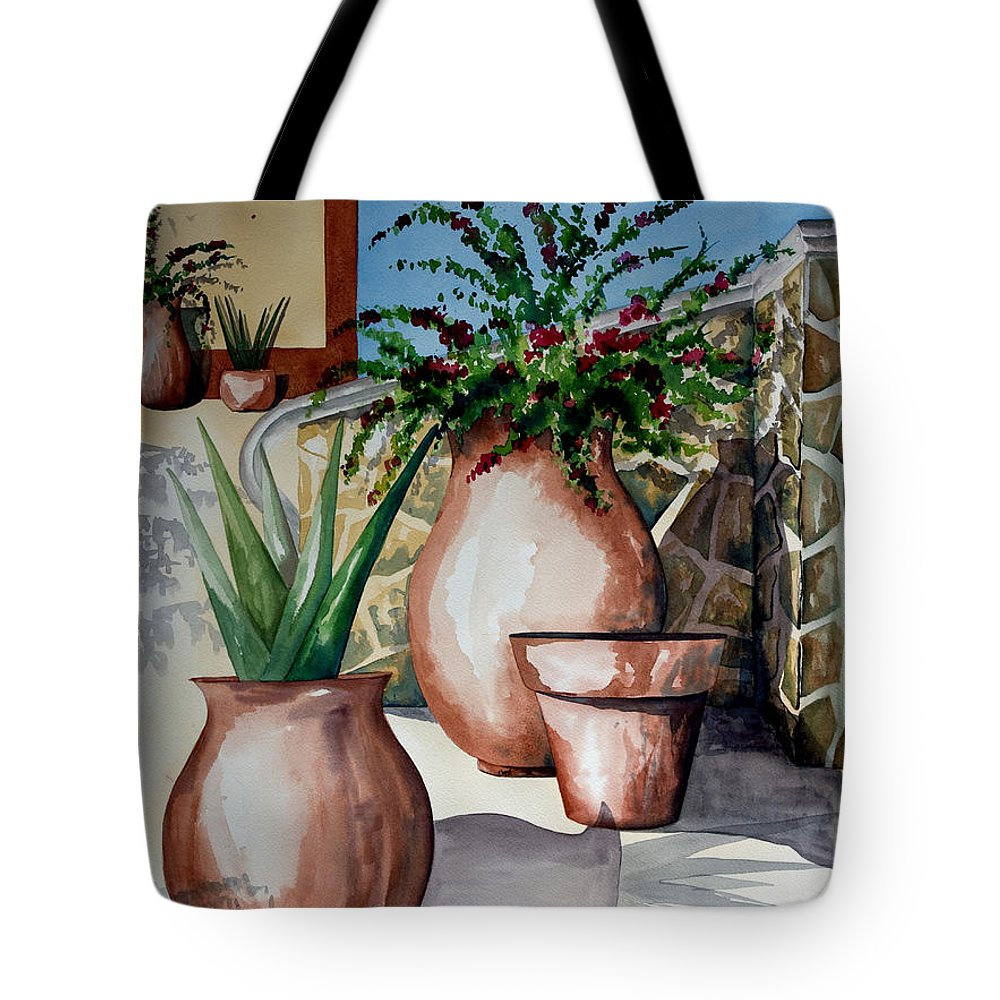 Floral Painting Tote Bag featuring the painting Pots And Bougainvillea by Kandyce Waltensperger