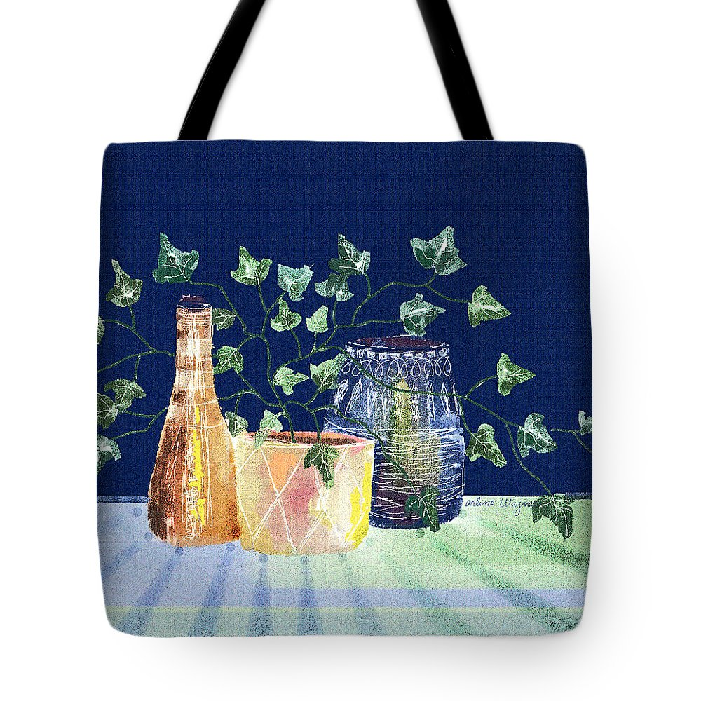 Ivy Tote Bag featuring the digital art Pots And Ivy On Plaid by Arline Wagner
