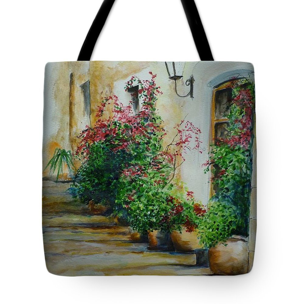 Earthenware Pots Tote Bag featuring the painting Pots And Plants by Lizzy Forrester