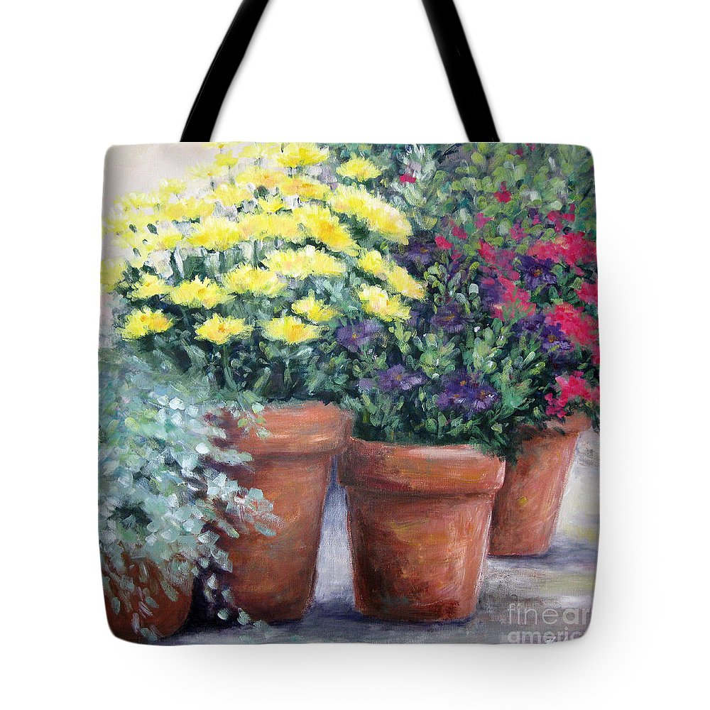 Flowers Tote Bag featuring the painting Pots In Bloom by Marsha Young