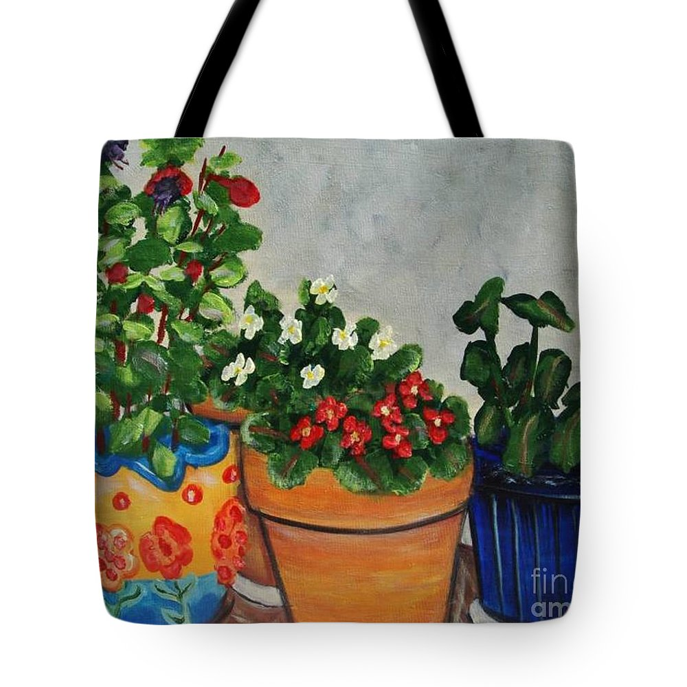 Ceramic Pots Tote Bag featuring the painting Pots Showing Off by Laurie Morgan