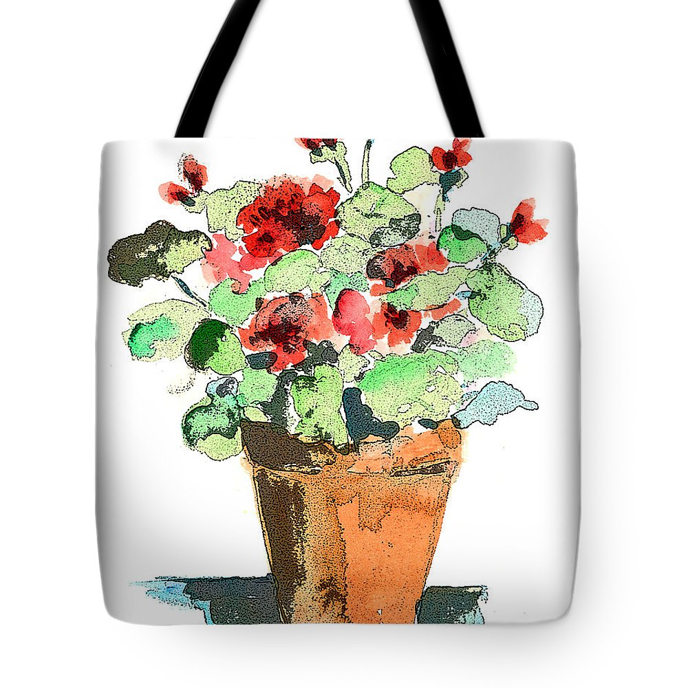 Plants Tote Bag featuring the painting Potted Geraniums by Arline Wagner