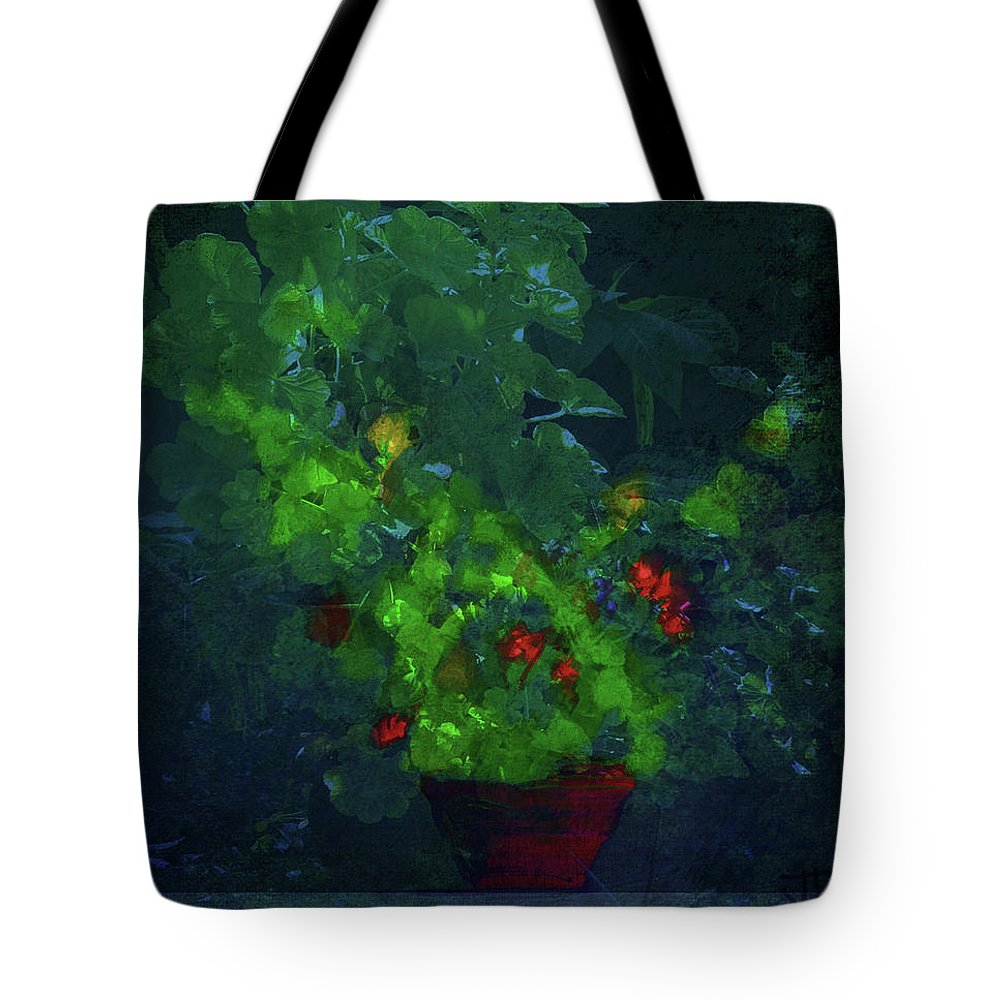 Flowers Tote Bag featuring the mixed media Potted Plant by Jim Vance