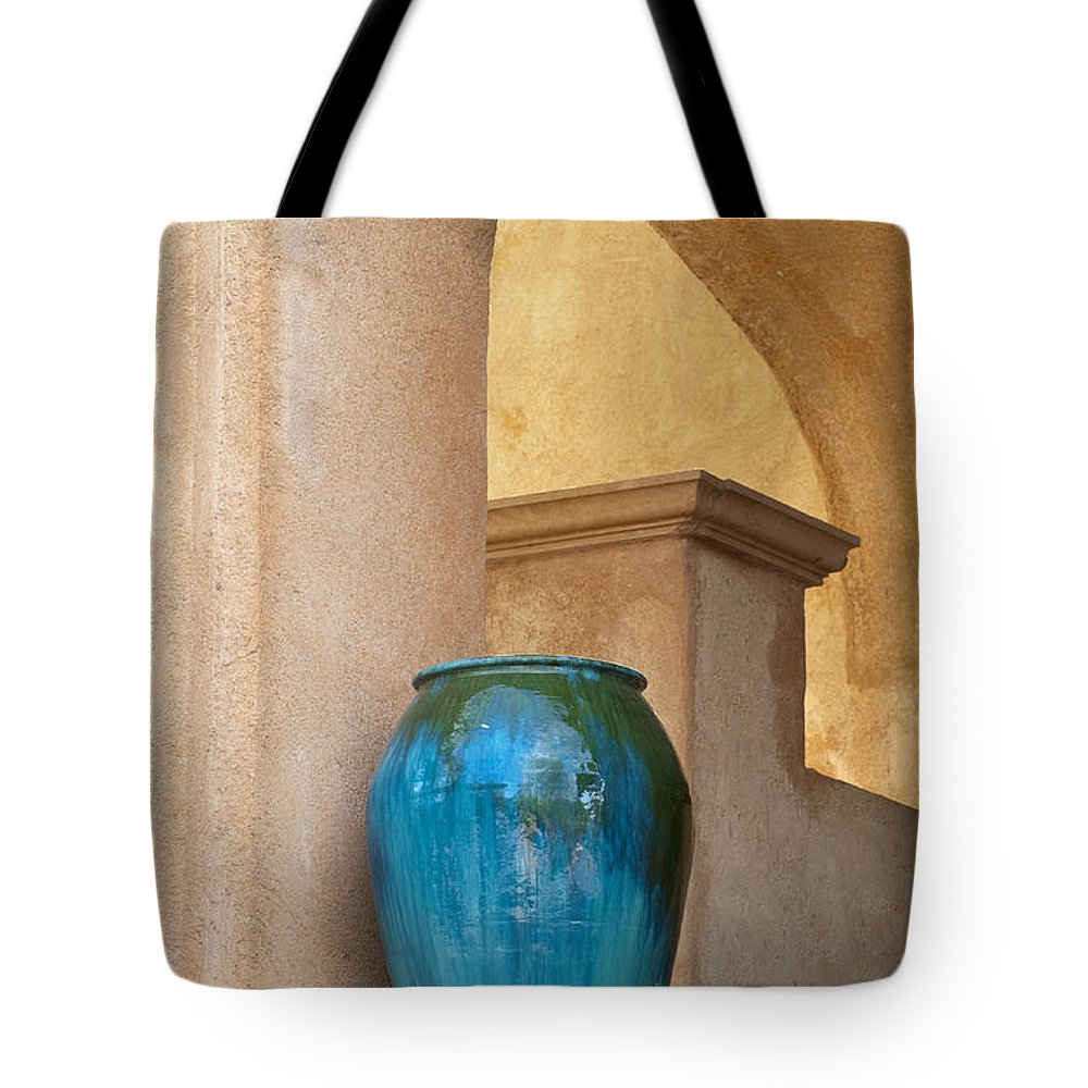 Southwest Tote Bag featuring the photograph Pottery And Archways by Sandra Bronstein