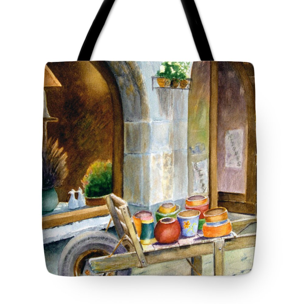 Cityscape Tote Bag featuring the painting Pottery Cart by Karen Fleschler