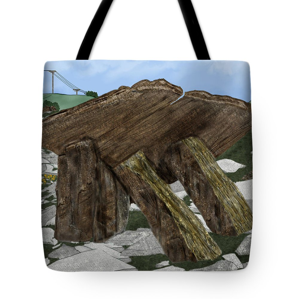 Landscape Tote Bag featuring the painting Poulnabrone Dolmen County Clare Ireland by Anne Norskog