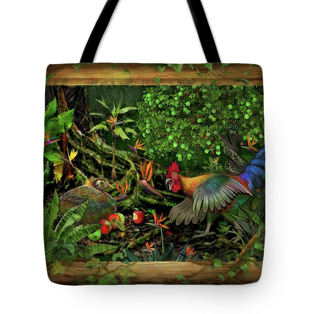 Rooster Tote Bag featuring the painting Poultrified Garden Of Eden by Robert Pratt