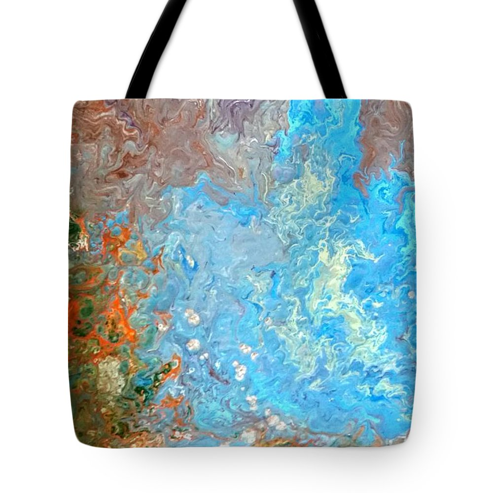 Acrylic Pour Tote Bag featuring the painting Siskiyou Creek by Valerie Josi