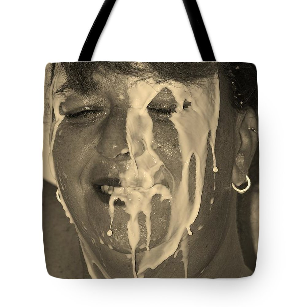 Milk Tote Bag featuring the photograph Poured Milk by Rob Hans
